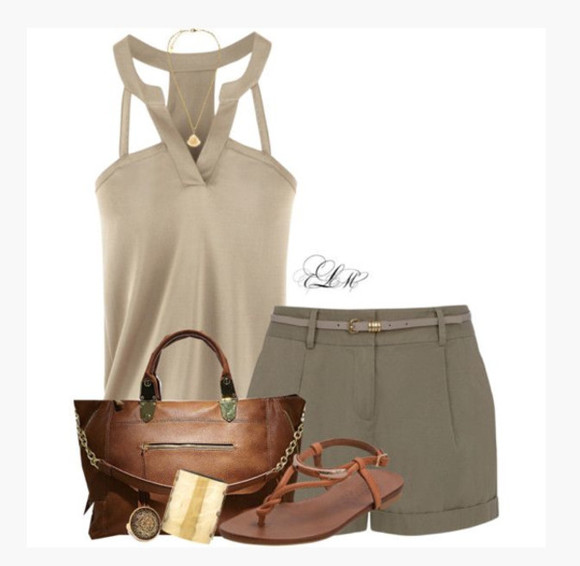 bracelets cuff top shoes bag blouse taupe blouse cut out top sleeveless racerback v-neck purse brown purse flats sandals clothes outfit shorts