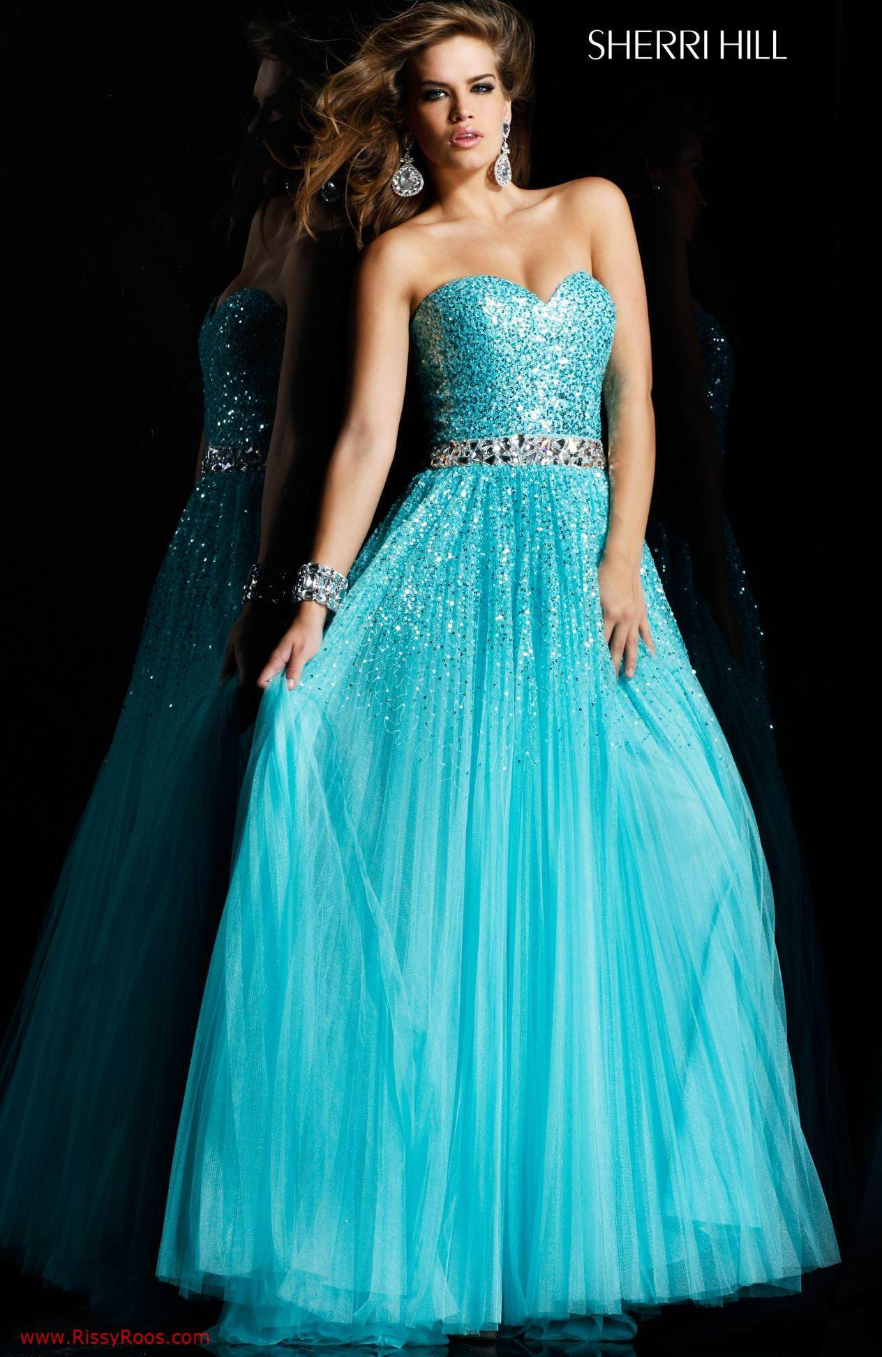 Hill 2545 - Aqua Prom Dress, Strapless Dresses - RissyRoos.com