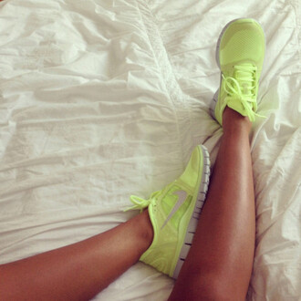 shoes nike sportswear lemon lime green neon running run freerun nike free run yellow neon yellow nike sneakers yellowfreerunshoes hot workout perfect