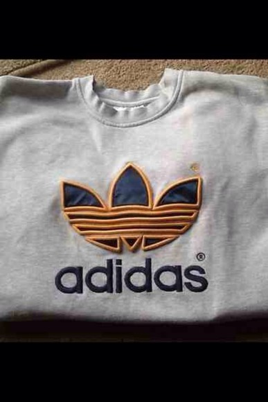 sweater grey adidas vintage gold adidas originals