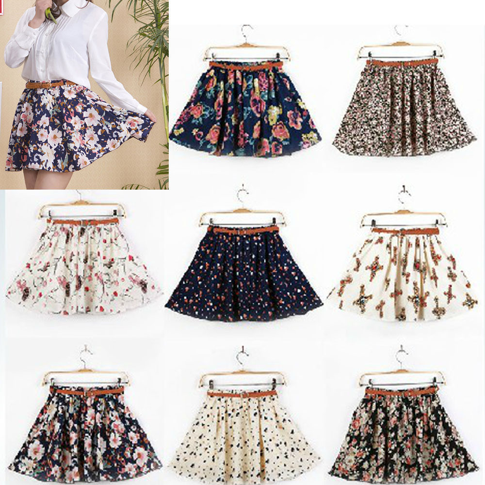 Cute womans retro high waist pleated floral chiffon sheer short mini skirt dress
