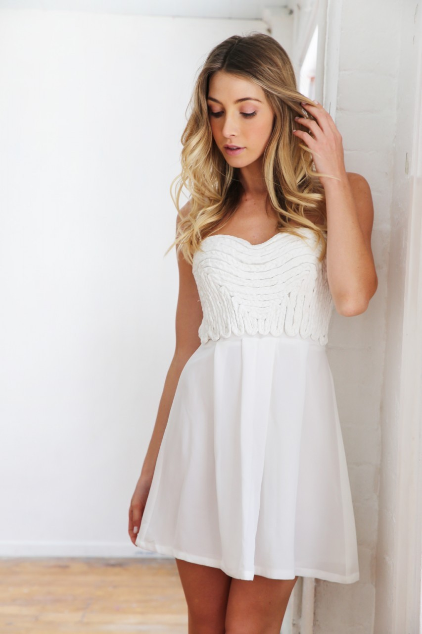 White strapless braid detail dress