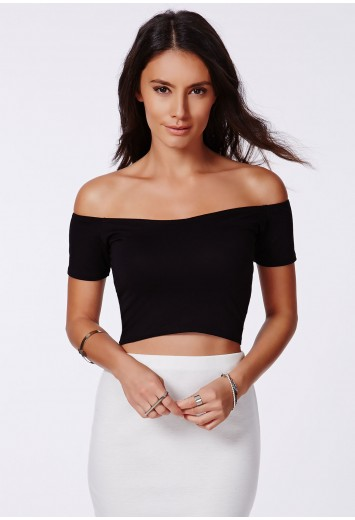 Missguided - Poranka Black Bardot Sweetheart Crop Top