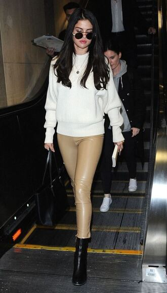 pants selena gomez sweater fall outfits skinny pants boots