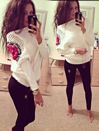 sweater pullover hollow out off the shoulder top rose floral printed long sleeves white black fashion knitted sweater mohair round neck unique details