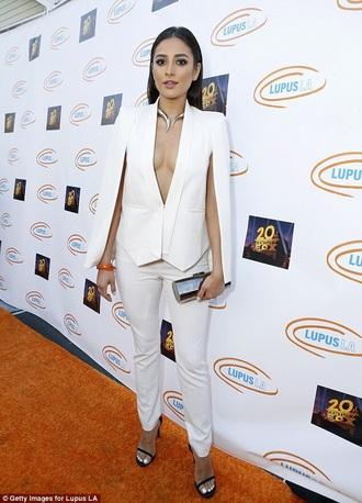 jacket shay mitchell shay mitchell style white white jacket white pants women's suit black heels
