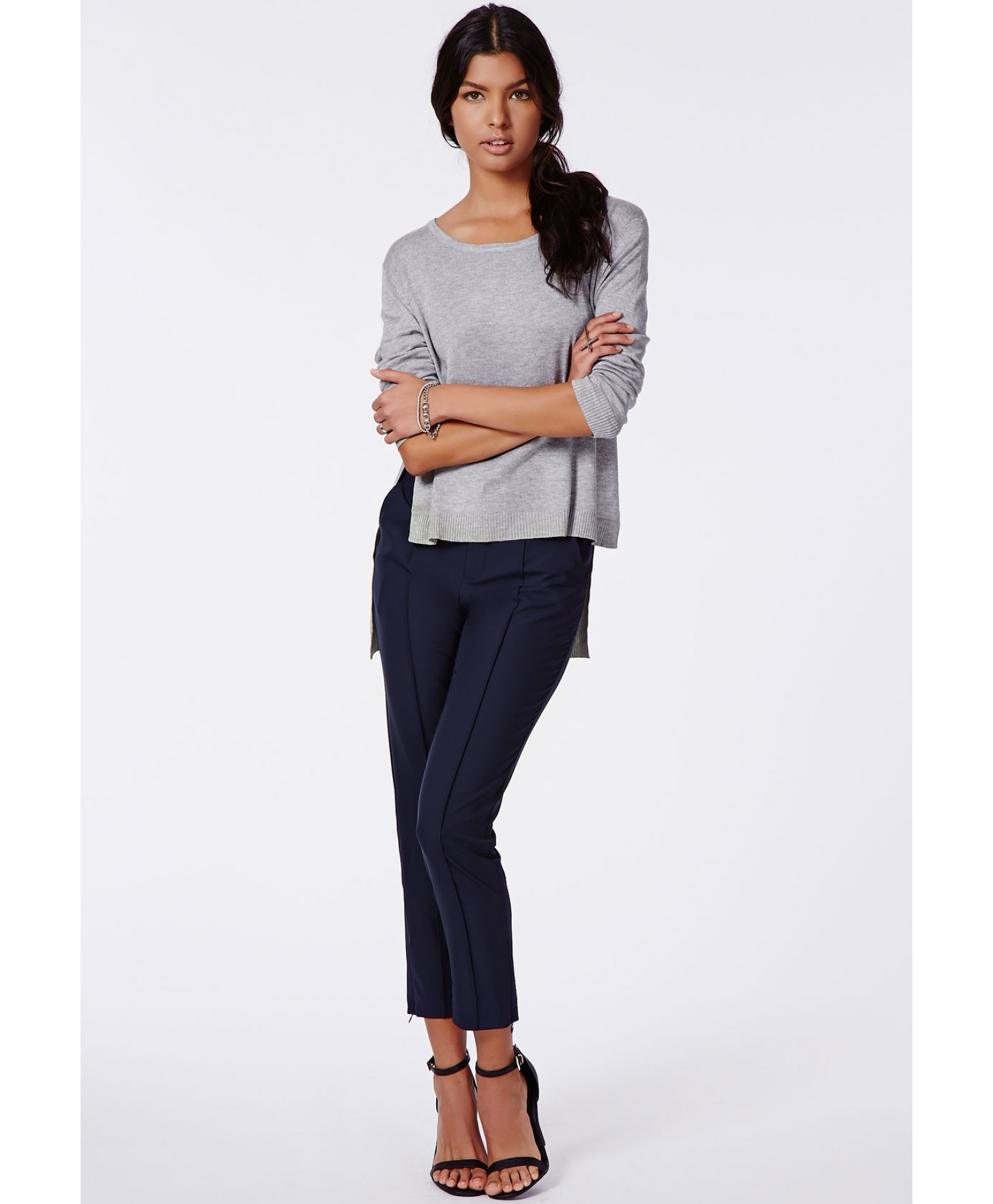 Missguided - Leanne Cigarette Trousers Navy