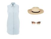 dress,blue,blue dress,shirt dress,baby blue,boater hat,straw hat,sunglasses,white frame sunglasses