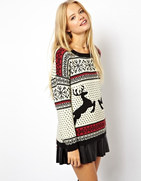 ASOS | ASOS Christmas Jumper in Reindeer Fairisle at ASOS