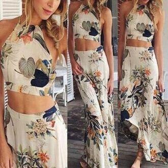 dress floral maxi skirt set croptopmaxiskirt boho hippie blogger fashion crop tops maxiskirt white www.ebonylace.net