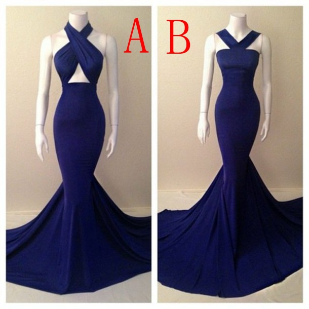 Aliexpress.com : Buy Long Evening Dress 2014 Halter Sleeveless Court Train Real Sample Mermaid Prom Dress Royal Blue Formal Evening Dresses from Reliable dresses junior suppliers on BestDressProvider