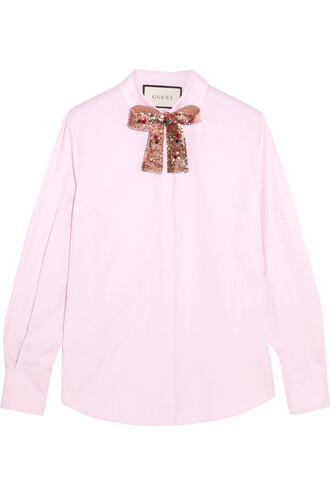 shirt embellished cotton pink top