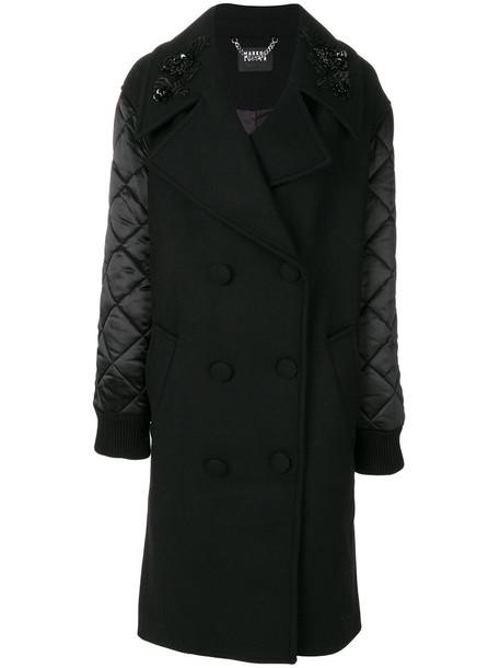 Markus Lupfer coat women spandex quilted cotton black wool