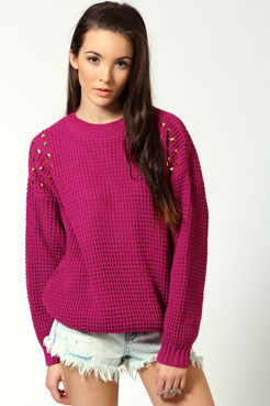 Lucy Studded Fisherman Jumper at boohoo.com