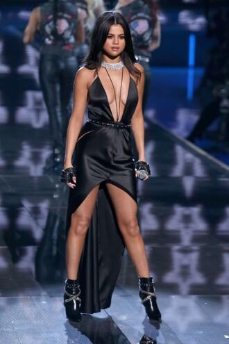 dress selena gomez asymmetrical dress plunge dress black dress ankle boots shoes