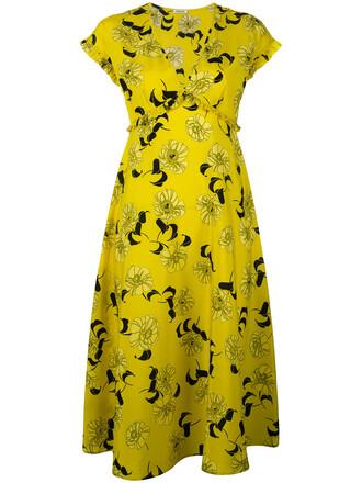 dress print dress women spandex floral print silk yellow orange