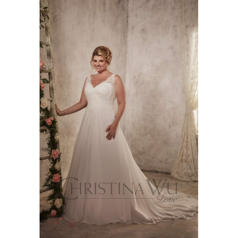666dacabb5eae2 Eternity Bride Plus-Size Dresses Style 29271 by Love by Christina Wu -  Ivory White Chiffon Lace ...