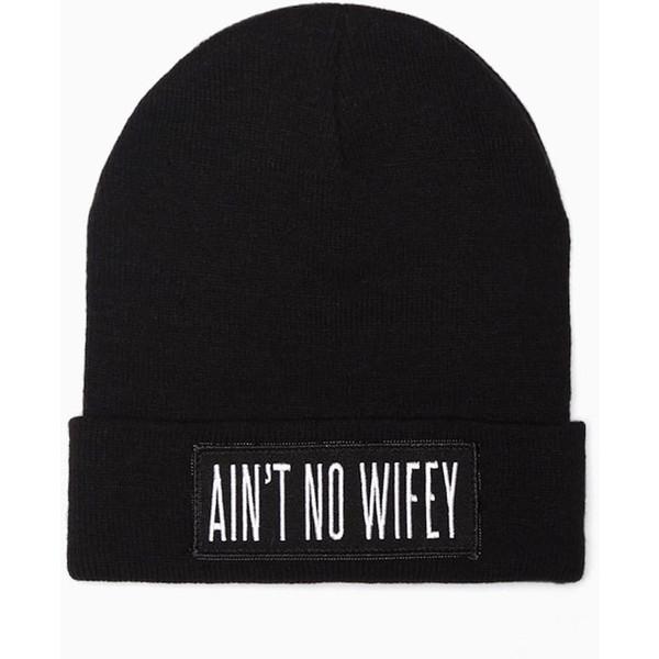Ain't No Wifey Beanie (Black) - Polyvore