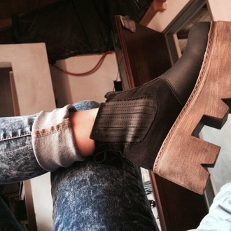 shoes black wood brown high fashion