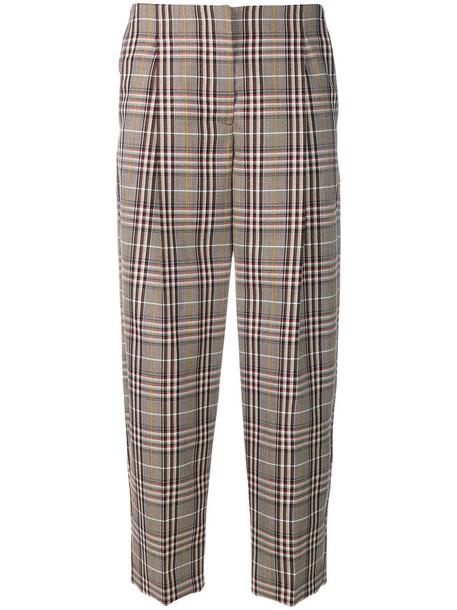 Victoria Beckham cropped women plaid nude cotton wool pants