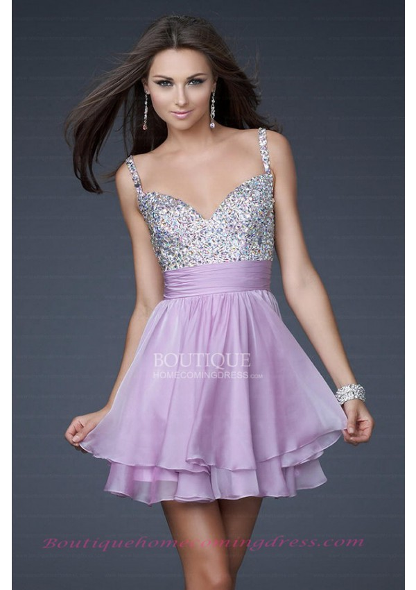 Line short/mini chiffon open back homecoming dress