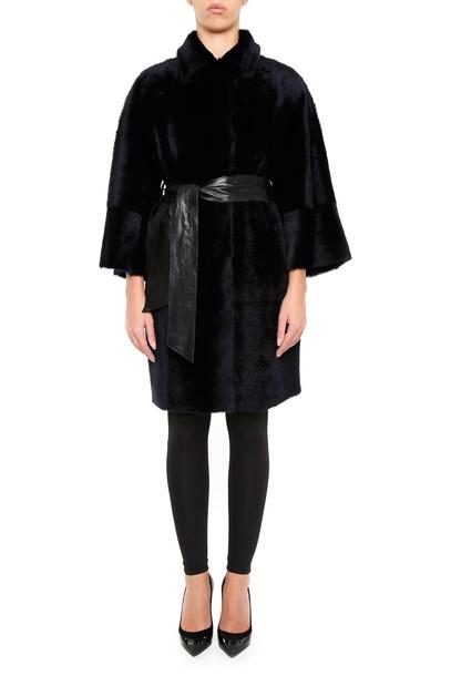 DROME coat leather navy