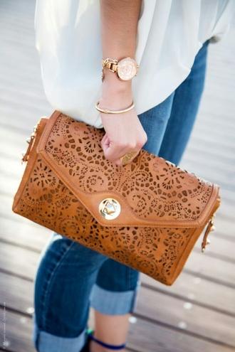 bag beige caramel leather handbag