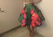 skirt,shirt,floral skirt,green,midi skirt,pink,colorful,multicolor,celebrity style,pattern,Angela Simmons