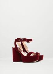 shoes,burgundy shoes,burgundy,velvet,velvet shoes,platform sandals