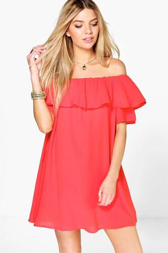 dress red dress red off the shoulder dress mini dress ruffle ruffle dress summer outfits summer summer dress