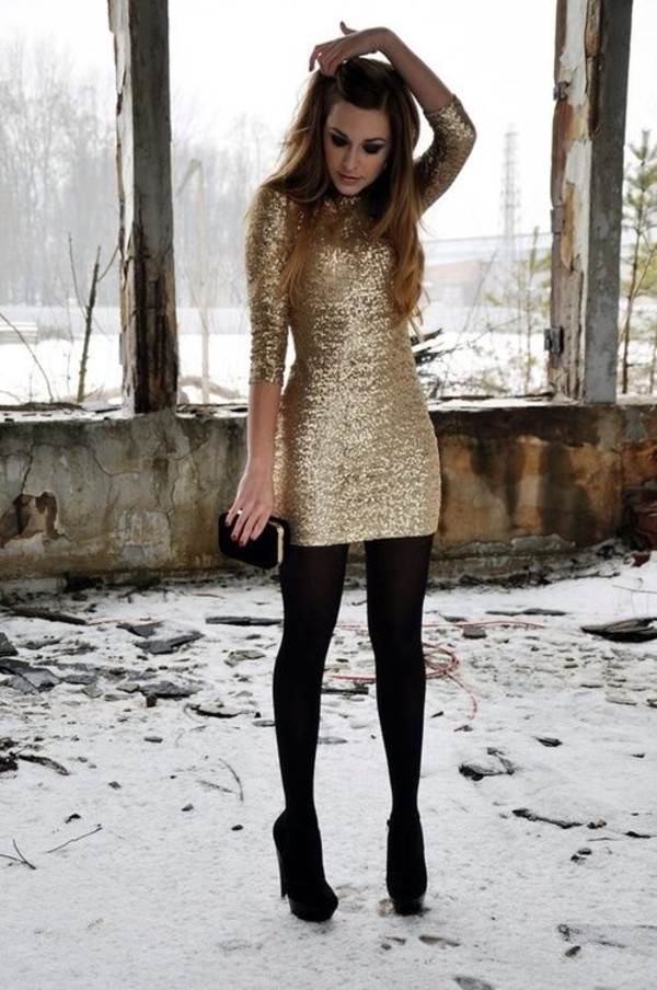 dress gold sequins shoes sparkle