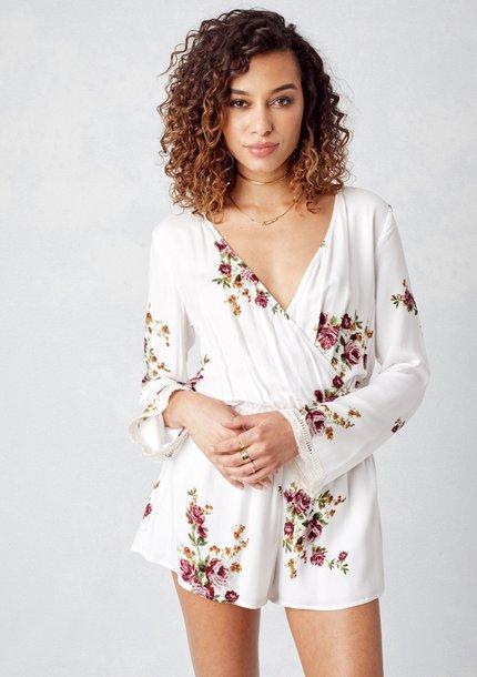 4ada6c8037eb jumpsuit floral romper shorts floral romper summer white romper white  jumpsuit jumper festival outfit white beach