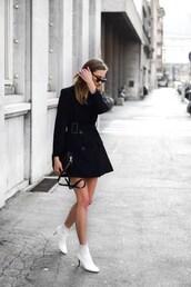 dress,black dress,mini dress,booties,white boots,white boots with laces,sunglasses