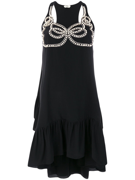 Fendi dress embellished dress women pearl embellished abs black silk