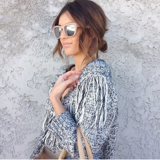 sweater fringes knitted sweater knit grey sweater grey gray top sunglasses beige mirrored sunglasses summer sunglasses