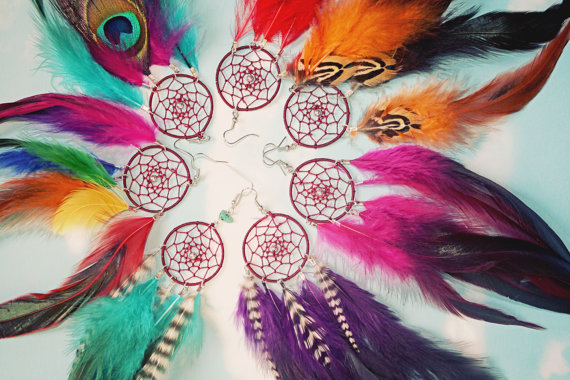 Handmade Dream Catcher Feather Earring Extra Long by Cloud9Jewels