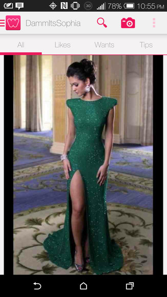 prom dress green dress long prom dress elegant dress slit dress