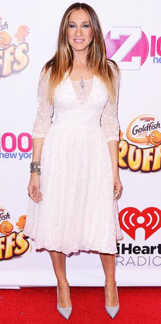white dress sarah jessica parker midi dress dress
