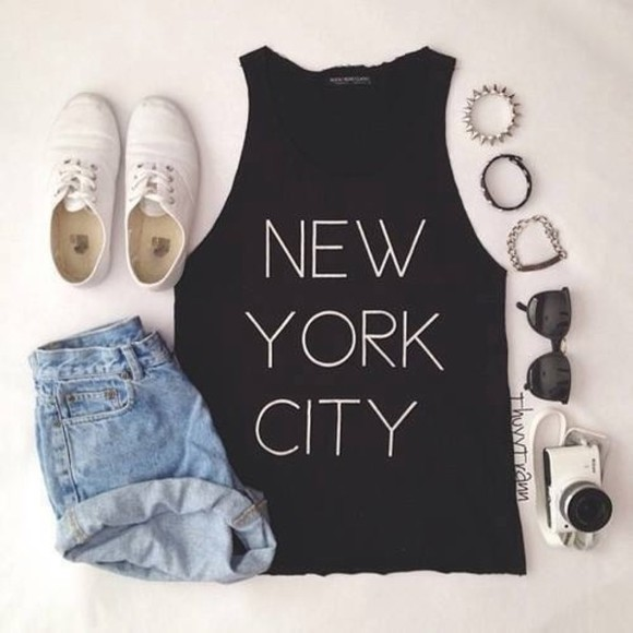 tee shoes black white shirt shorts sunglasses denim denim shorts cropped shirt cropped black cropped short shoes white camera new york cite new york city city new york black shirt spiked braclet bracelets
