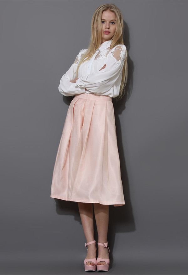 skirt tender love pleated a-line full skirt pink