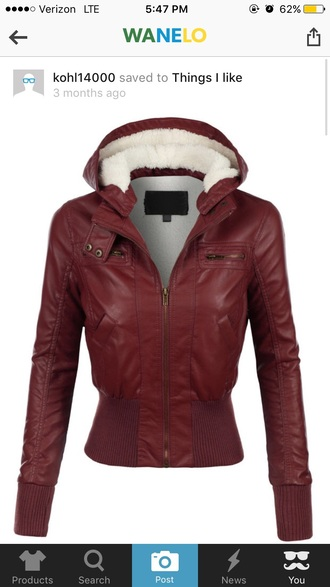 coat white red red leather jacket red furry hood