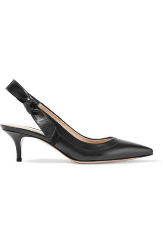 bow embellished pumps leather black shoes