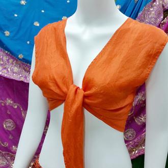 top orange cap sleeve tie in the front