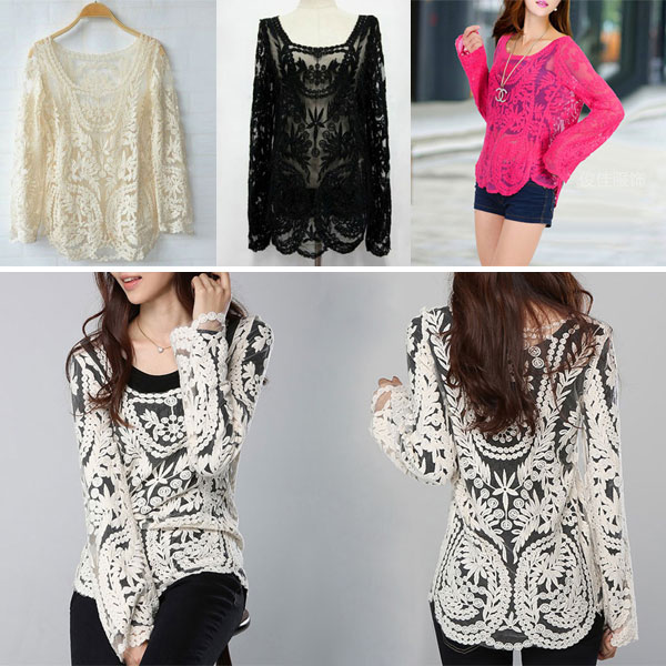 a40ffd7a7418b3 Women Semi Sexy Sheer Long Sleeves Embroidery Floral Lace ...