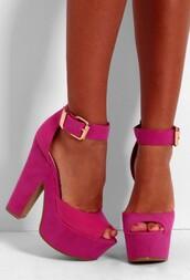 shoes,hot pink,platform high heels,chunky heels