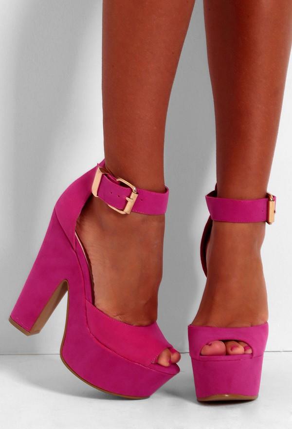 Hot Pink Suede Heels | Tsaa Heel