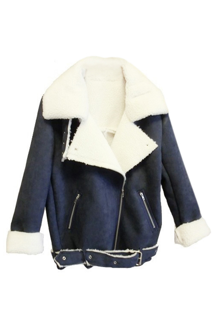 ROMWE | ROMWE Zippered Lapel Long Sleeves Blue Coat, The Latest Street Fashion