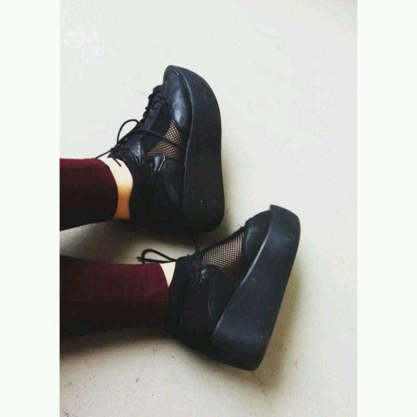 shoes platform shoes heels mesh boots