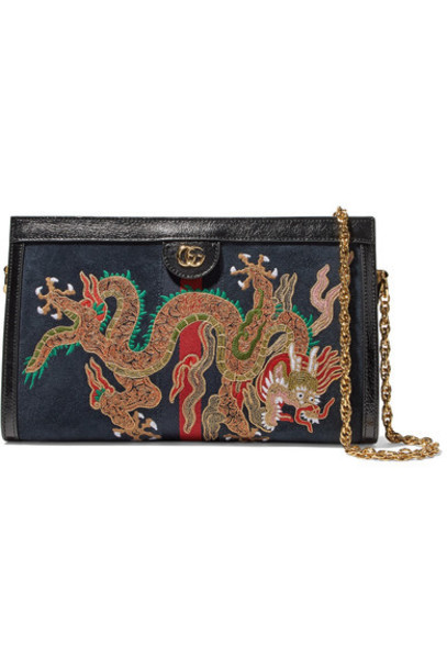 gucci embroidered bag shoulder bag blue suede