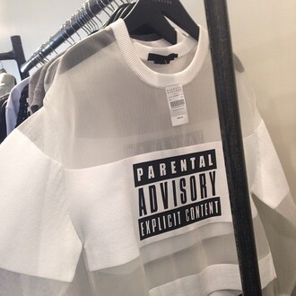 t-shirt parental advisory explicit content white t-shirt